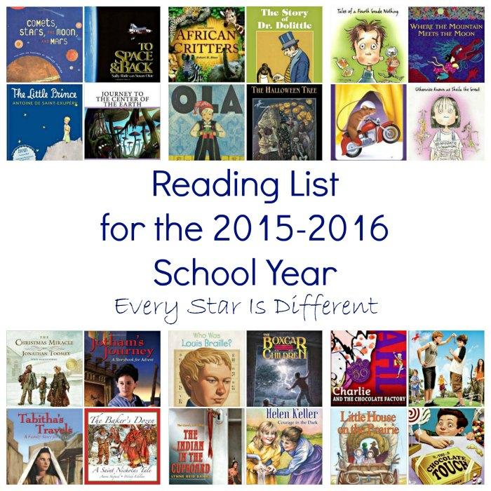 Lower Elementary reading List for 2015-2016