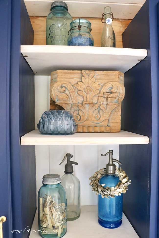 French Country Laundry ORC™ Reveal Vintage French Seltzer Bottle on open shelves