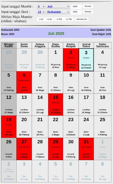 Kalender Jawa hari baik bulan juli 2020