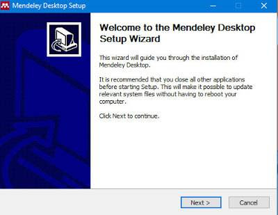 Instan mendeley, Welcome to the Mendeley desktop setup wizard