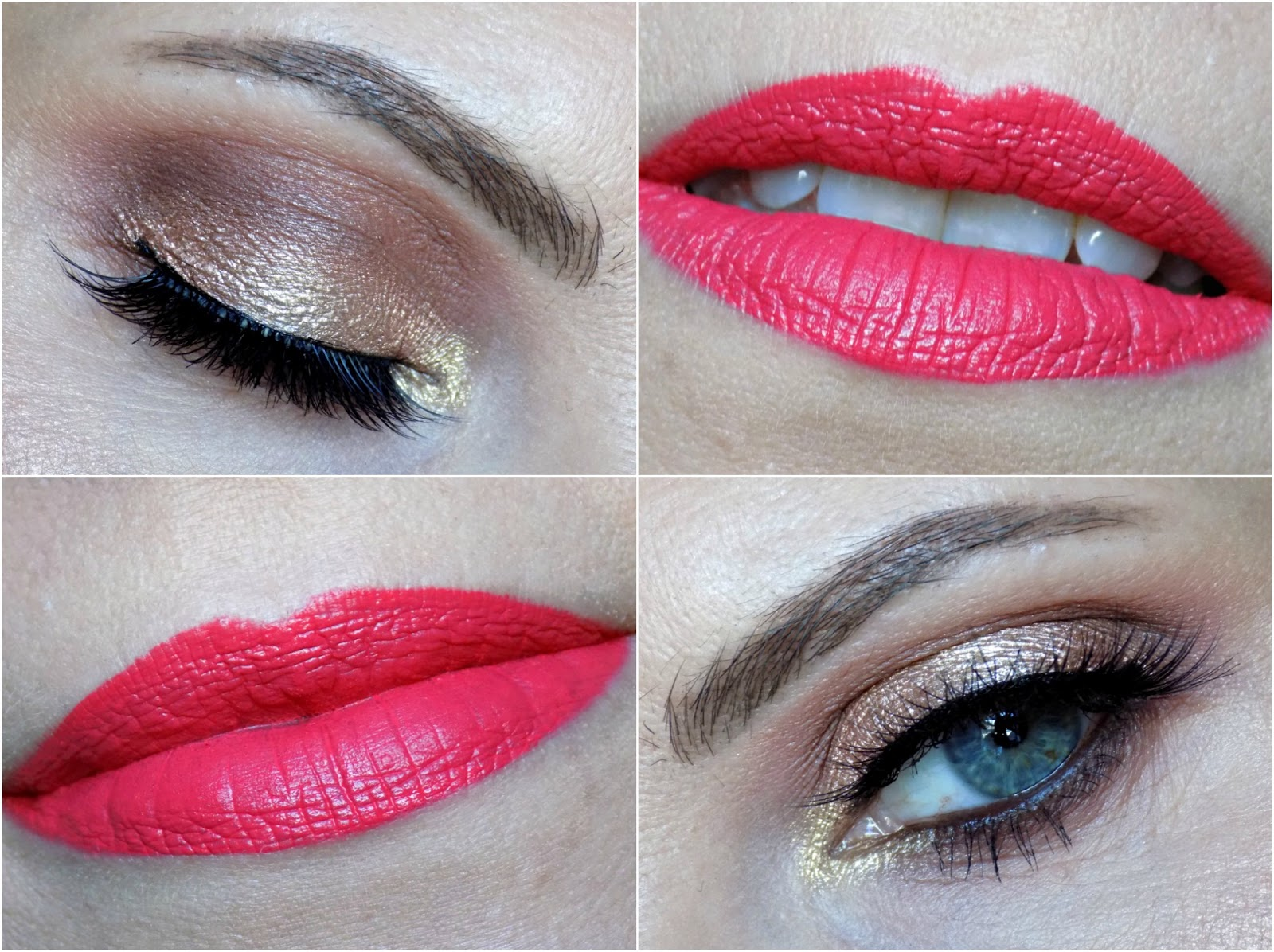 rose golden eyes and bright coral lips