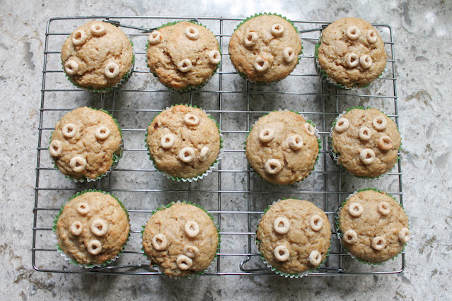 Food Lust People Love: Cheerios Banana Muffins are made with crushed Cheerios or, I suppose, their store-brand equivalent and sweet ripe bananas. Bake a batch for someone you love.