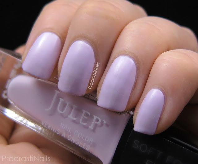 Swatches of Julep's semi-matte purple polish Lulu