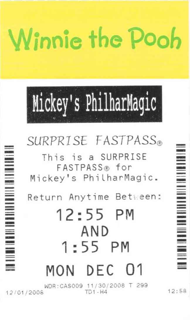 Winnie the Pooh Philharmagic Surprise Fastpass Magic Kingdom