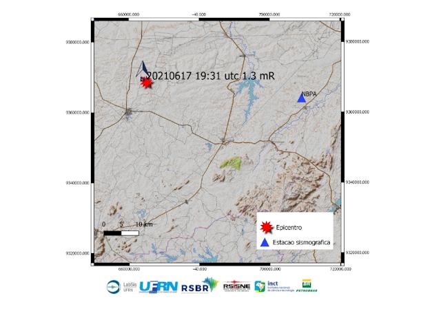 Tremor de terra, de magnitude preliminar 1.3 é registrado no município de Caraúbas