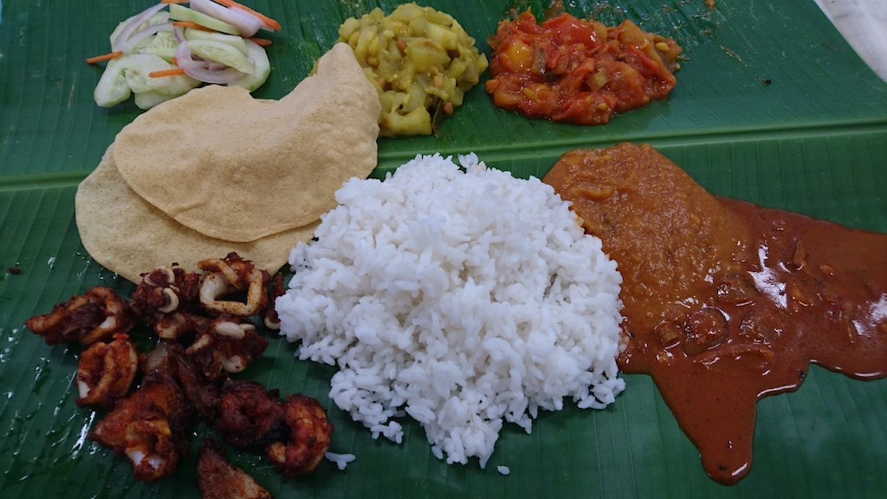 Banana leaf rice at Raj