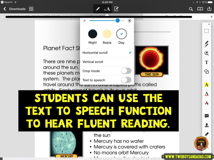 Using PDF Expert in guided reading to have text spoken