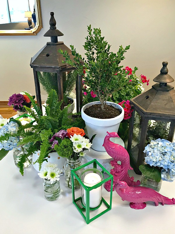 garden theme table decorations, church banquet decorations, table centerpieces, banquet centerpiece ideas