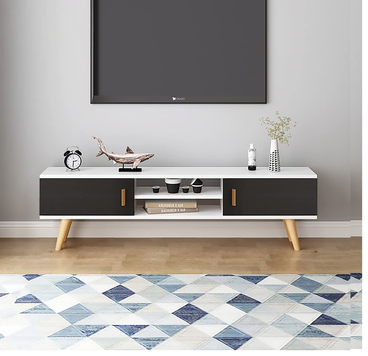 Minimalist small Living room wooden cabinet with sholves design ideas