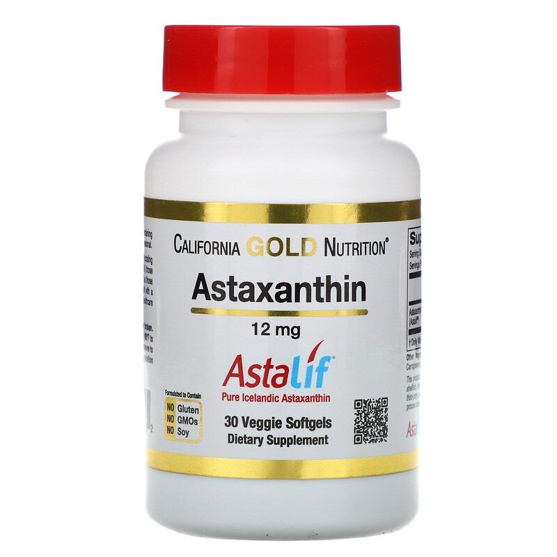 California Gold Nutrition, Астаксантин, чистый исландский продукт AstaLif, 12 мг, 30 растительных мягких таблеток