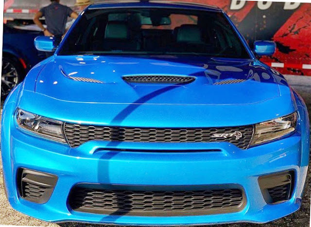 dodge charger blue srt hellcat widebody