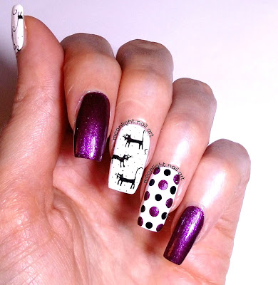 Black Cats Stamping Halloween Nails: Purple, Black and White Design Tutorial