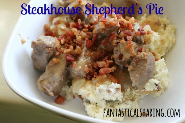 Steakhouse Shepherd's Pie // Not your momma's shepherd's pie, this version contains no veggies but has hearty steak with gravy topped with potatoes! #recipe #steak #beef #potatoes #maindish