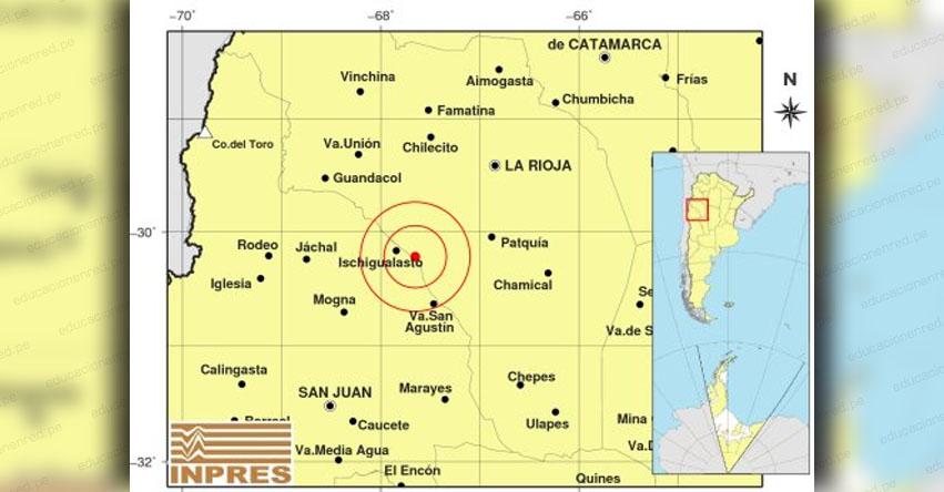 Sismo en Argentina de Magnitud 5.0 (Hoy Viernes 2 Noviembre 2018) Temblor Epicentro - La Rioja - Ischigualasto - INPRES - www.inpres.gob.ar