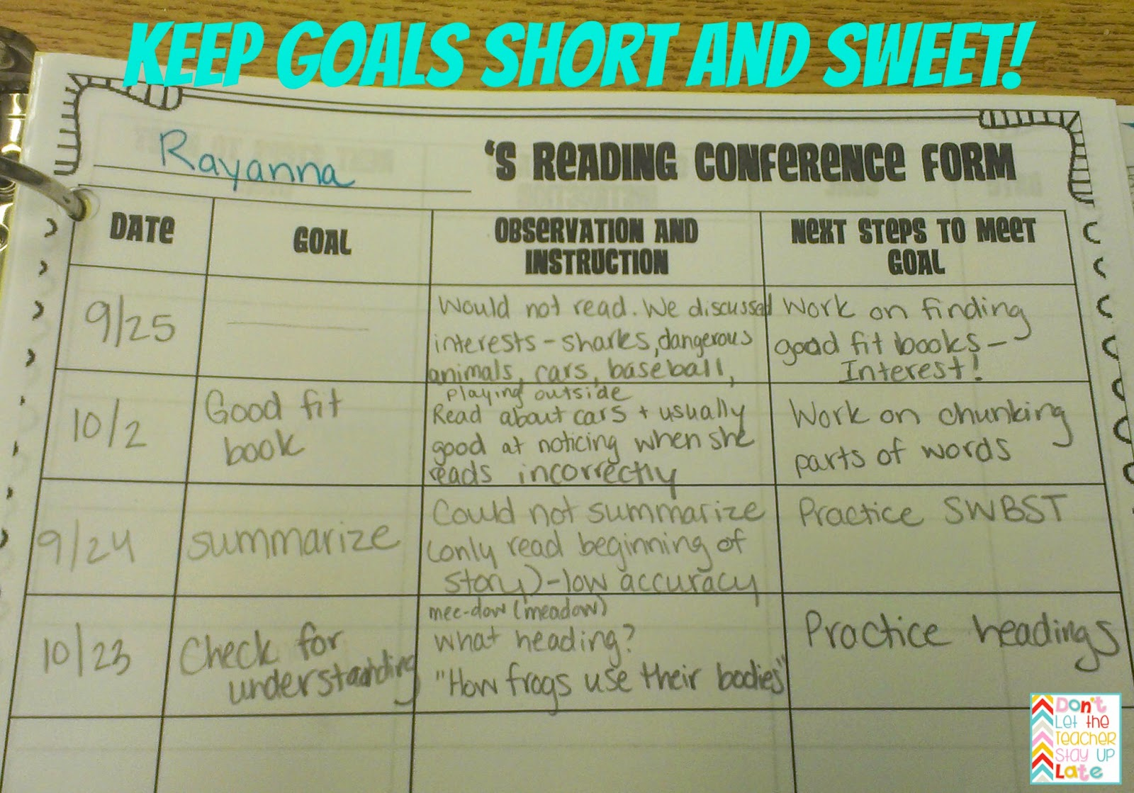 Tips For Goal Setting During Individual Reading