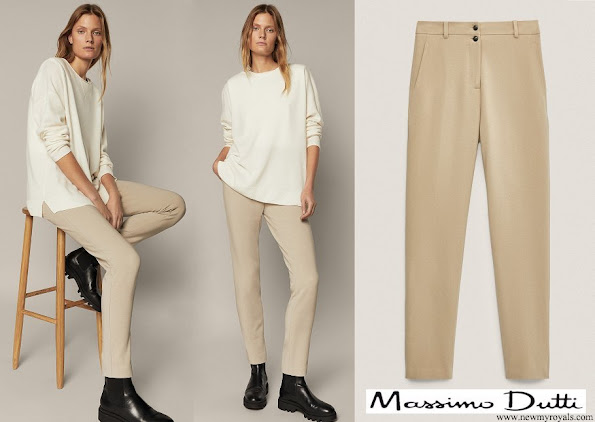 Queen Letizia wore Massimo Dutti Mid waist skinny fit buttoned trousers