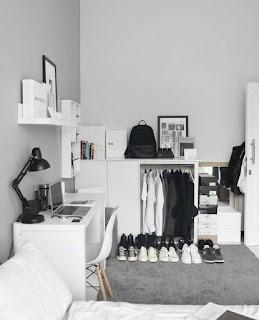 Dekorasi kamar Tidur Cowok Serba Putih