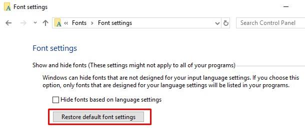 restore fonts