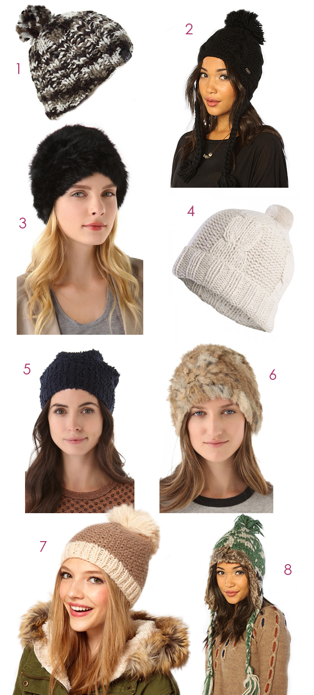 cold weather hats, knit caps, beanies