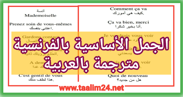 الجمل الأساسية في الفرنسية - تعلم الفرنسية