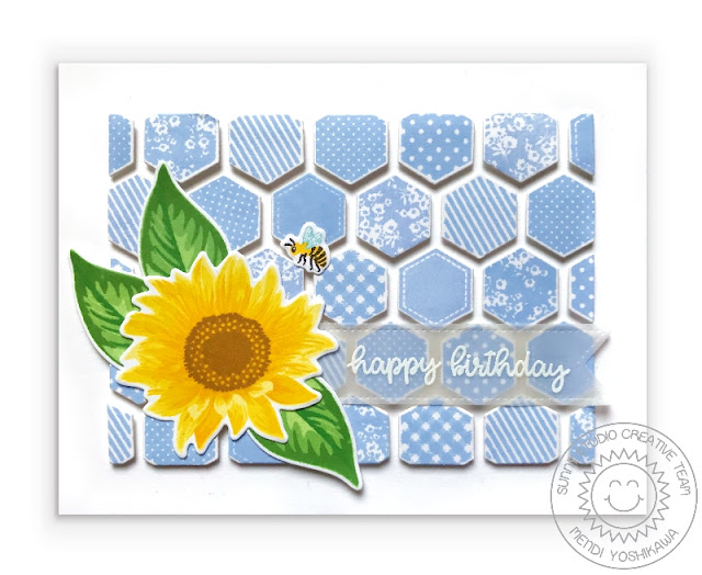 Sunny Studio: Sunflower Fields Layered Flower Patchwork Quilt Birthday Card (using Quilted Hexagon Stamps, Happy Thoughts Stamps & Frilly Frames Hexagon Dies)