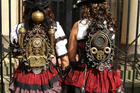 Steampunk backpacks for women's group costumes (matching/coordinating steampunk costumes for groups)