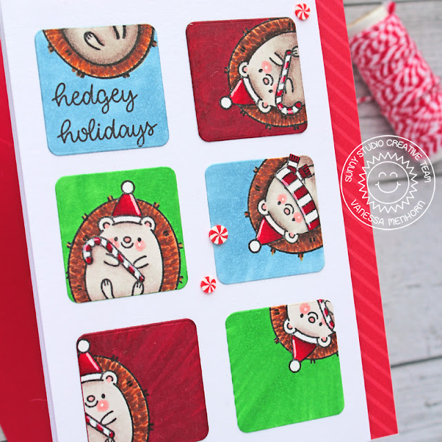 Sunny Studio Stamps: Hedgey Holidays Window Trio Dies Hedgehog Themed Christmas Card by Vanessa Menhorn