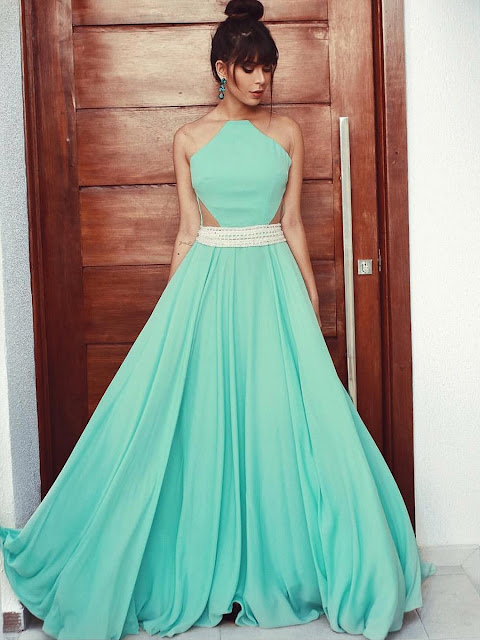 A-line Scoop Neck Chiffon Tulle Floor-length Beading Prom Dresses