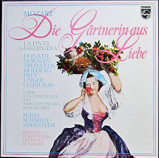 """Grabación de """"La finta giardiniera"""" en la versión alemana """"Die Gärtnerin aus Liebe"""", bajo la dirección de Hans Schmidt-Isserstedt, en el sello Philips."""