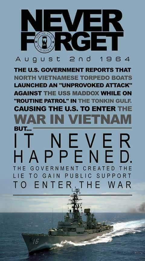 833bd6017 Gulf Of Tonkin False Flag Attack By US CIA In 1965; Warmongering ...
