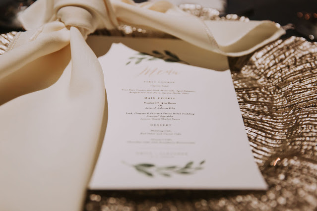 wedding menu card and napkin