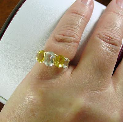 Nhẫn Beryl trắng và Beryl vàng