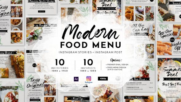 Videohive Modern Food Menu Instagram Stories 28331308