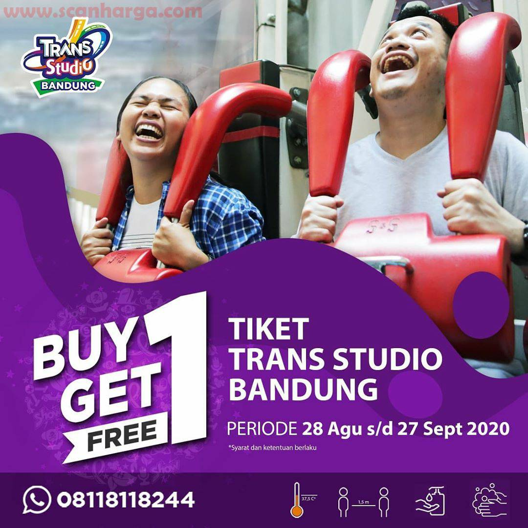 Promo Trans Studio Bandung BUY 1 GET 1 FREE 28 August - 27 September 2020