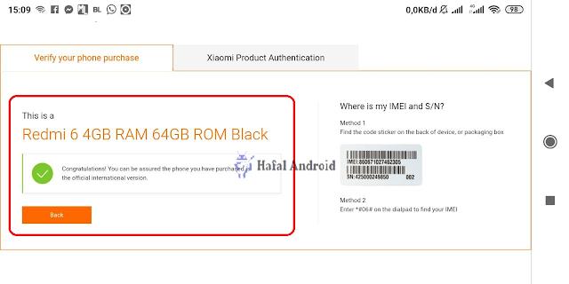Hasil Pengecekan Asli IMEI Xiaomi di Situs Resmi