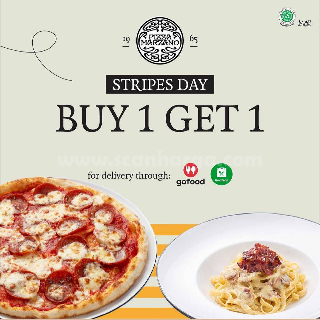 PIZZA MARZANO Promo STRIPES DAY BELI 1 GRATIS 1
