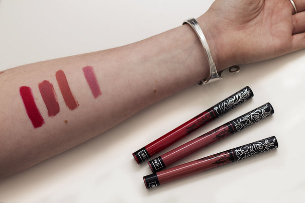 Kat Von D Liquid Lipsticks, Studded Kiss and Ink Eyeliner swatches