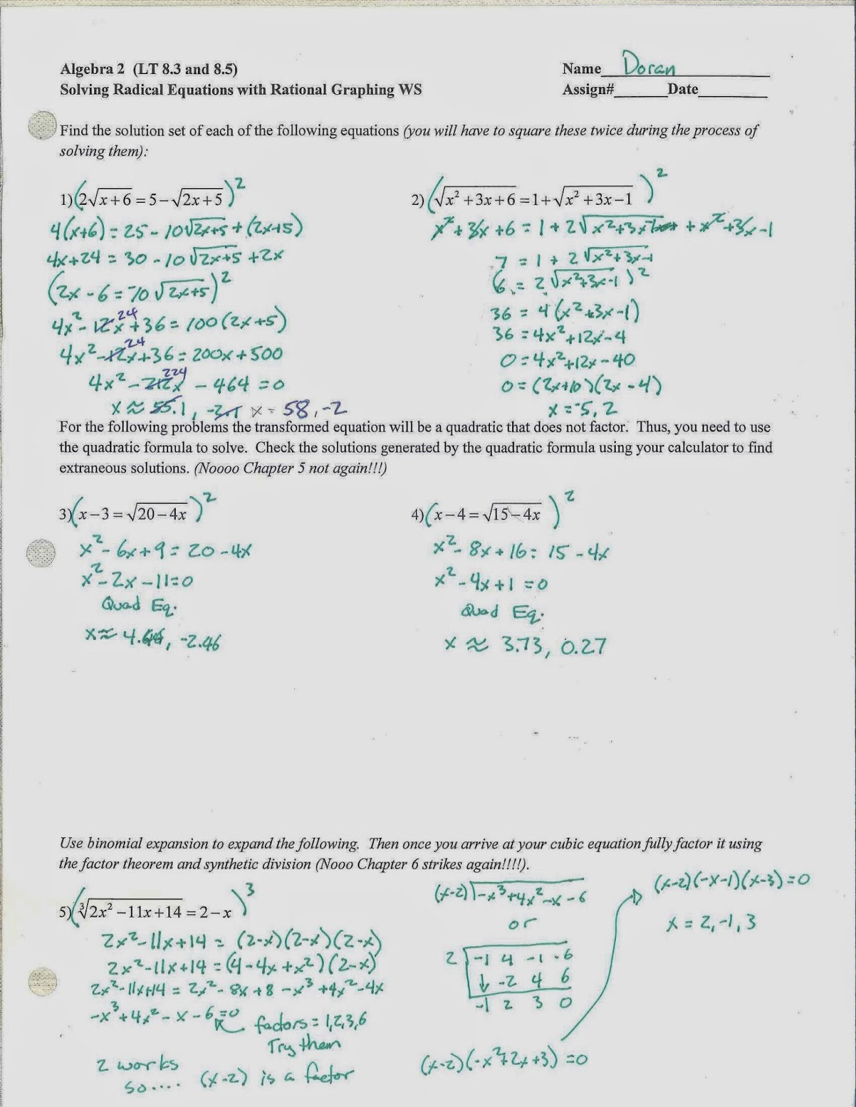 Mr Doran S Algebra 2 Unit 6 Exam Review Materials