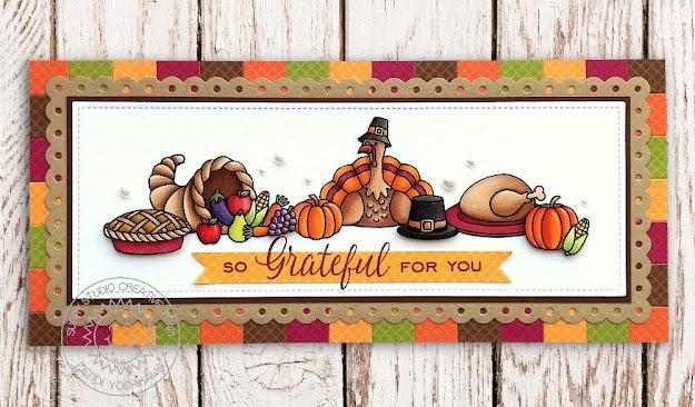 Sunny Studio Blog: Thanksgiving Dinner with Cornucopia and Turkey Handmade Fall Card (using Bountiful Autumn Stamps, Slimline Scalloped Frame Dies, Basic Mini Shape Dies & Gingham Jewel Tones Paper)