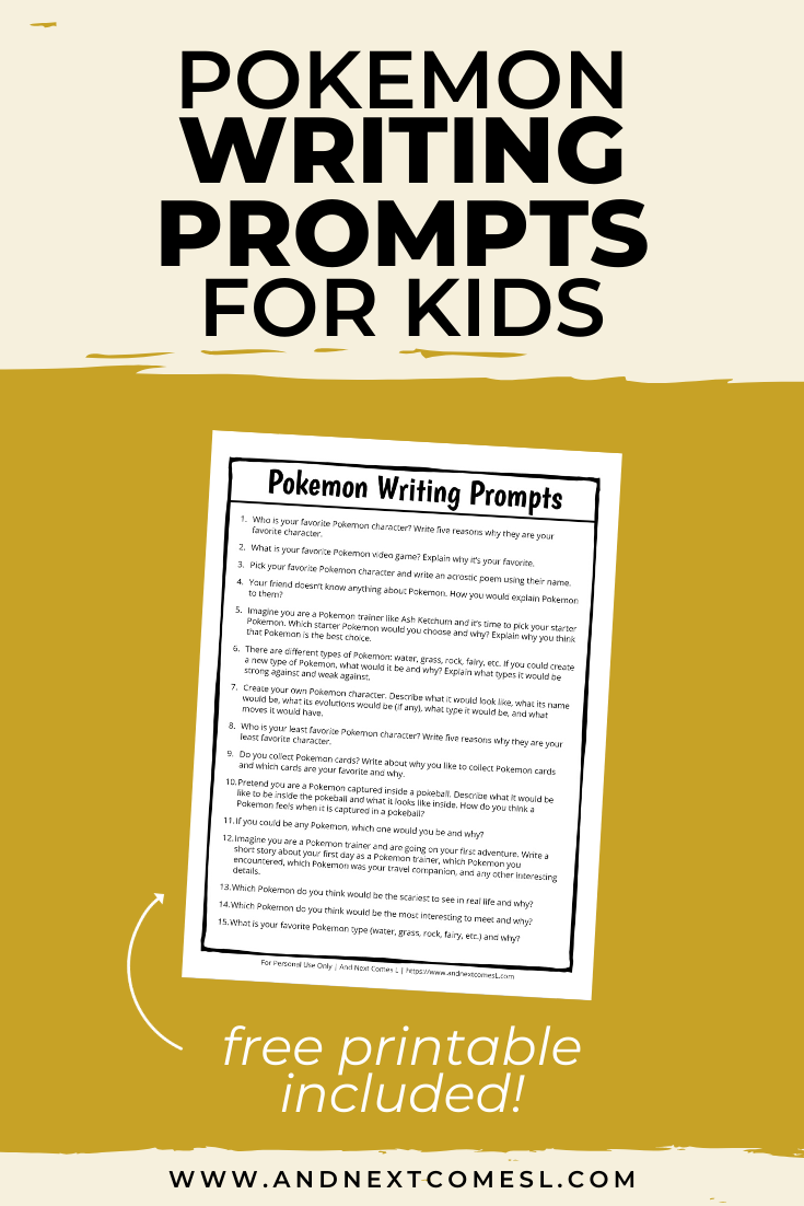 Pokemon themed writing prompts for kids - includes a free printable!