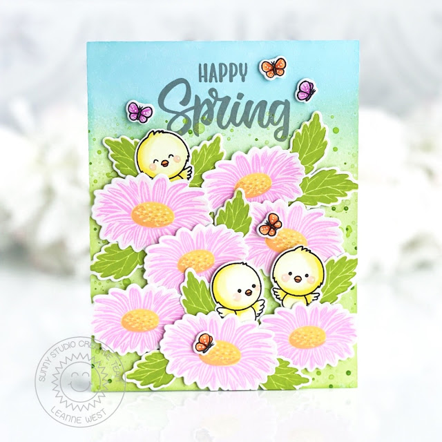 Sunny Studio Stamps: Cheerful Daisies Chickie Baby Frilly Frame Dies Spring Showers Spring Themed Cards by Leanne West