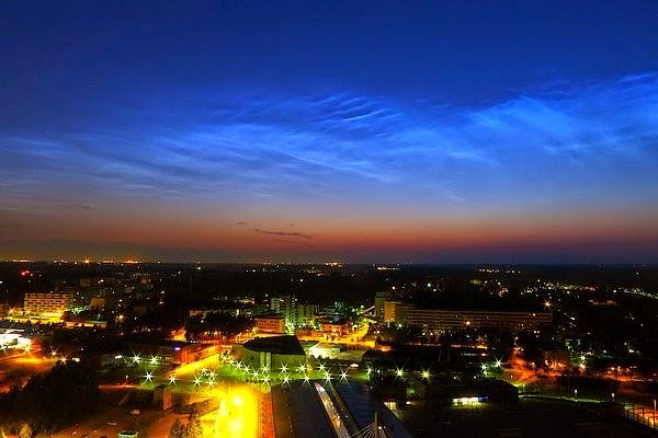 Noctilucent clouds over Helsinki