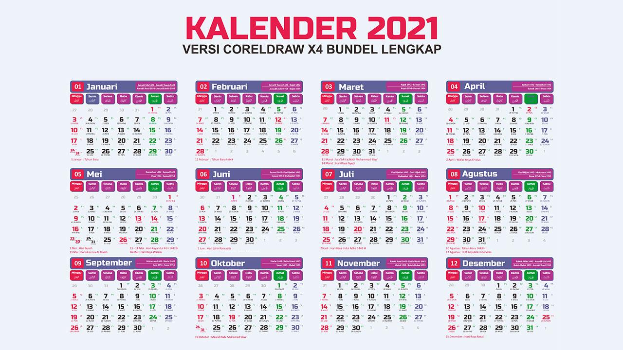 Download Desain Kalender 2021 Lengkap Cdr Jawa Hijriah Masehi