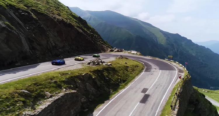 Reclama Lamborghini Huracan pe traseul pe Transfăgărăşan