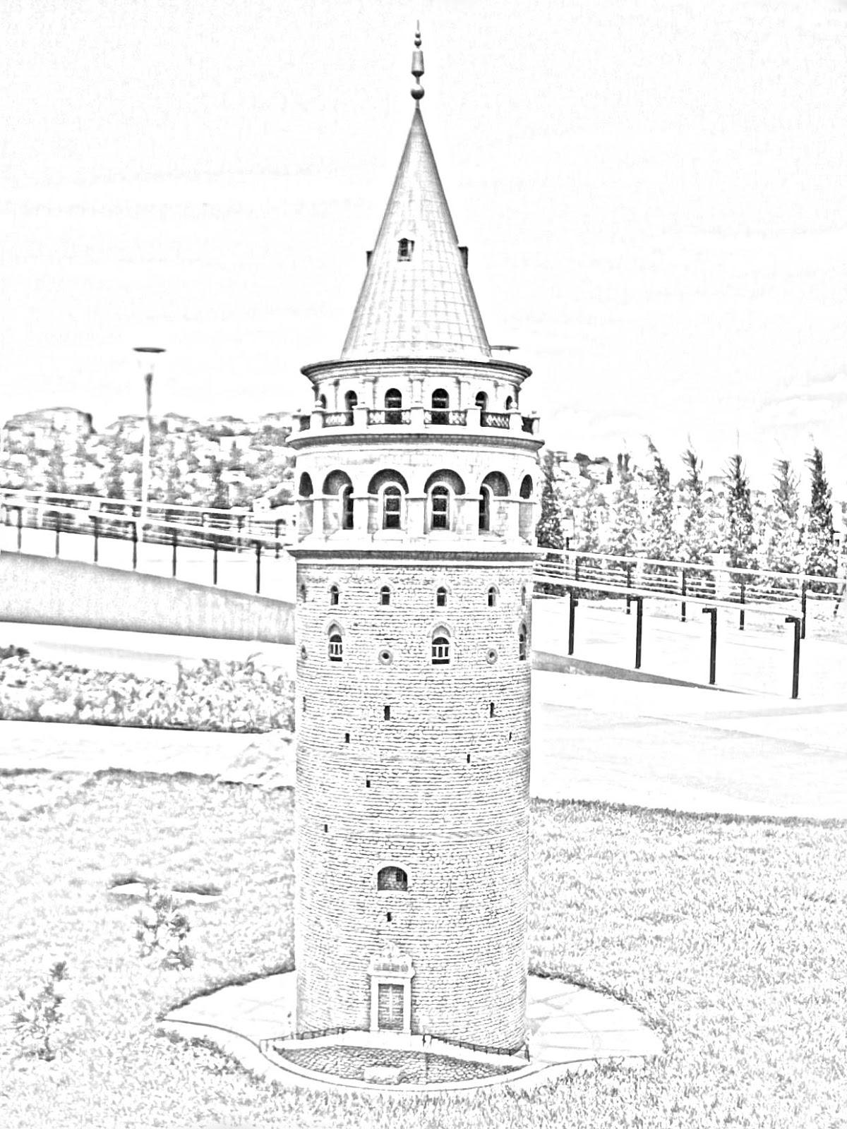 Galata Kulesi Karakalem çizimleri Karakalem çizimleri Karakalem