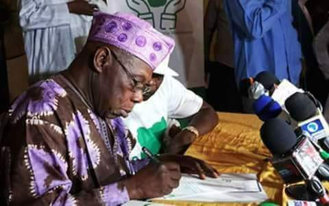 Obasanjo Registers, Declares Membership Of Coalition For Nigeria Movement