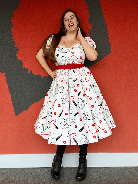 vixen swing dress makeup print