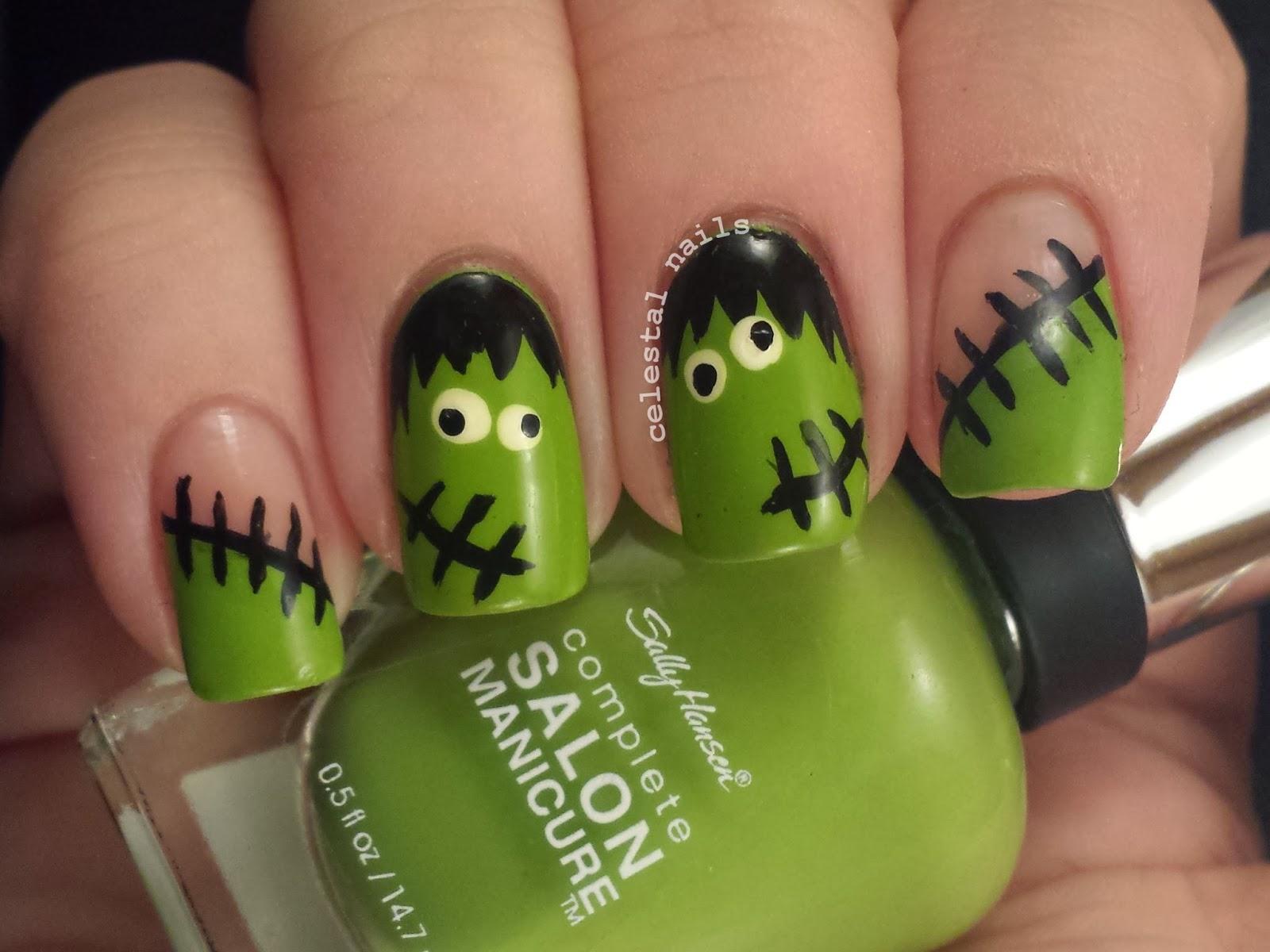 Celestal Nails: Frankenstein Nail Art