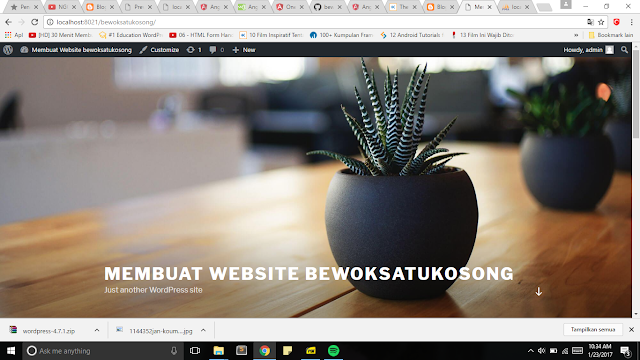 website wordpress yang sudah kita buat dan install