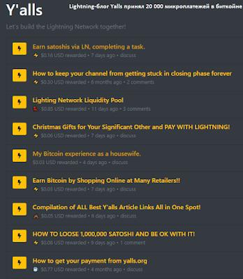 Lightning-блог Yalls принял 20 000 микроплатежей в биткойне